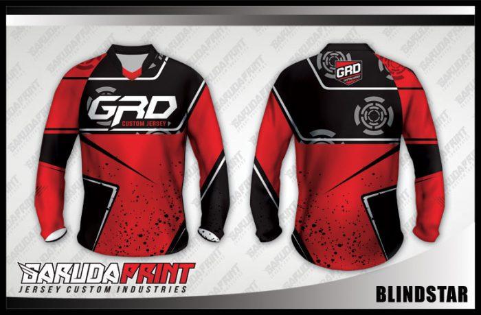 Desain Baju Sepeda Downhill Blindstar Warna Merah Hitam