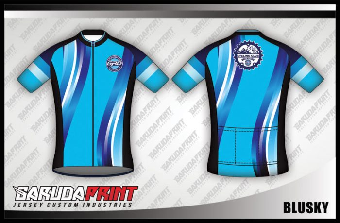 Desain Baju Sepeda Gowes Blusky Warna Biru Minimalis Tapi Oke