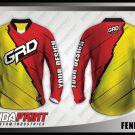 Desain Baju Sepeda MTB Gunung Fenerflash Warna Merah Kuning Sederhana