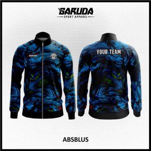 Desain Jaket Printing Warna Biru Hitam Motif Abstrak Bergelombang