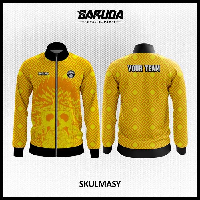 Desain Jaket Printing Warna Kuning Motif Tengkorak