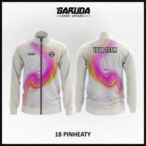 Desain Jaket Printing Warna Putih Pink Motif Bergelombang Kekinian