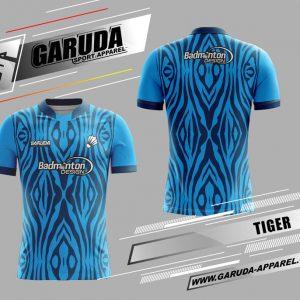 Desain Jersey Badminton Tiger Warna Biru Hitam Tampil Beda