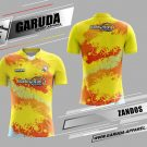 Desain Jersey Badminton Zandos Warna Kuning Orange