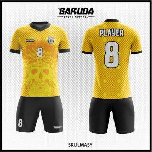 Desain Jersey Bola Futsal Skulmasy Warna Kuning Hitam Motif Ornamen Paling Unik