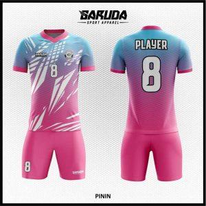 Desain Jersey Sepakbola Printing Gradasi Warna Pink Biru Yang Cool