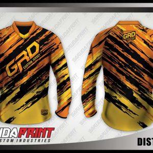 Desain Jersey Sepeda Downhill Distortion Motif Loreng Warna Kuning Hitam