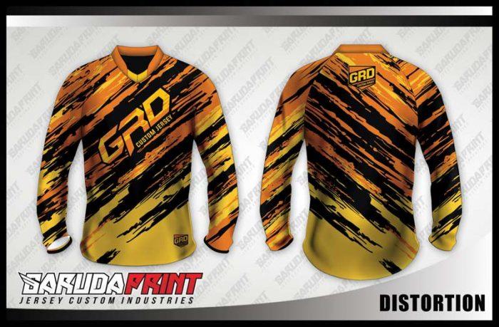Desain Jersey Sepeda Downhill Distortion Motif Loreng Wara Kuning Hitam
