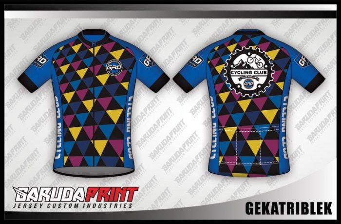 Desain Jersey Sepeda Gowes Gekatriblek Warna Biru Motif Segitiga