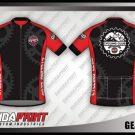 Desain Jersey Sepeda Roadbike Gearismo Warna Hitam Merah