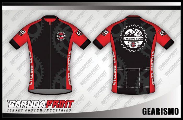 Desain Jersey Sepeda Roada Bike Gearismo Warna Hitam Merah