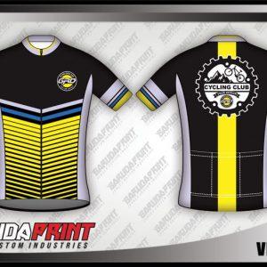Desain Jersey Sepeda Roadbike Velocity Warna Hitam Kuning Abu-Abu