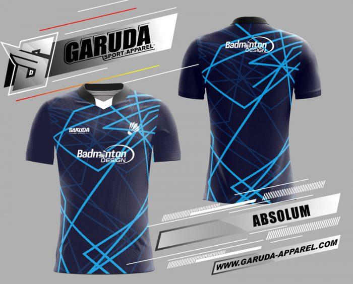 Desain Kaos Badminton Absolum Warna Biru Dongker Paling Keren Garuda Print