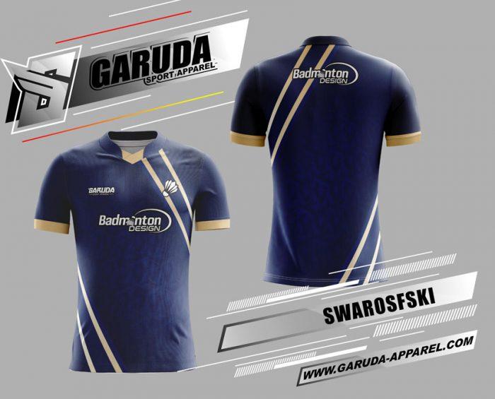 Desain Kaos Badminton Swarosfski Warna Biru Minimalis