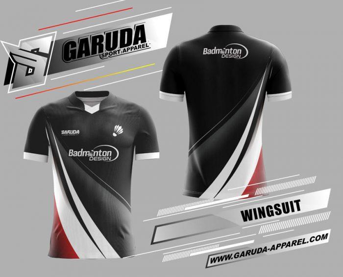 Desain Kaos Badminton Wingsuit Warna Hitam Putih Keren Banget