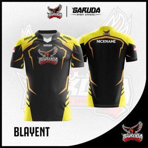 Desain Kaos Gaming Blayent Warna Hitam Kuning Tampil Oke
