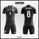 Desain Kostum Futsal Sambles Warna Hitam Motif Bergelombang